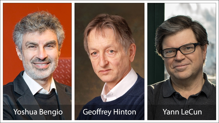 2018 ACM A.M. Turing Award recipients Yoshua Bengio, Geoffrey Hinton and Yann LeCun