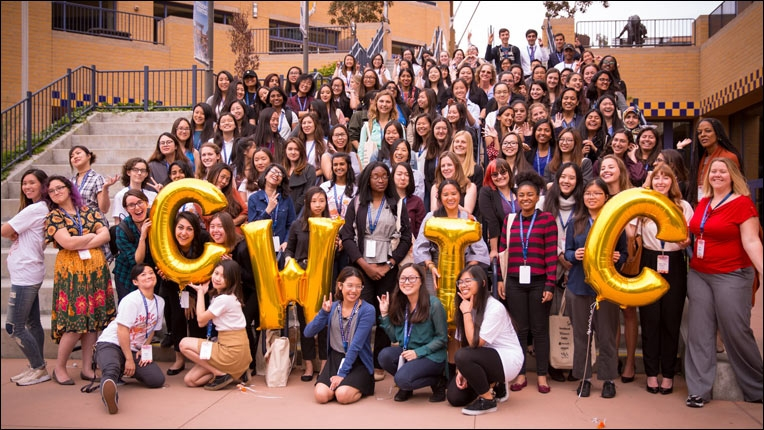 Photo of woment at an ACM-W Celebration of Women in Computing